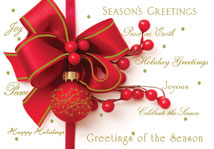 Red Ornament with Greetings Holiday Card